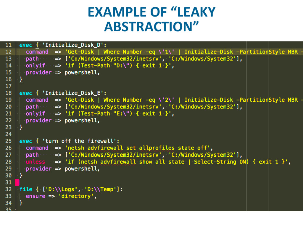 """EXAMPLE OF """"LEAKY ABSTRACTION"""""""