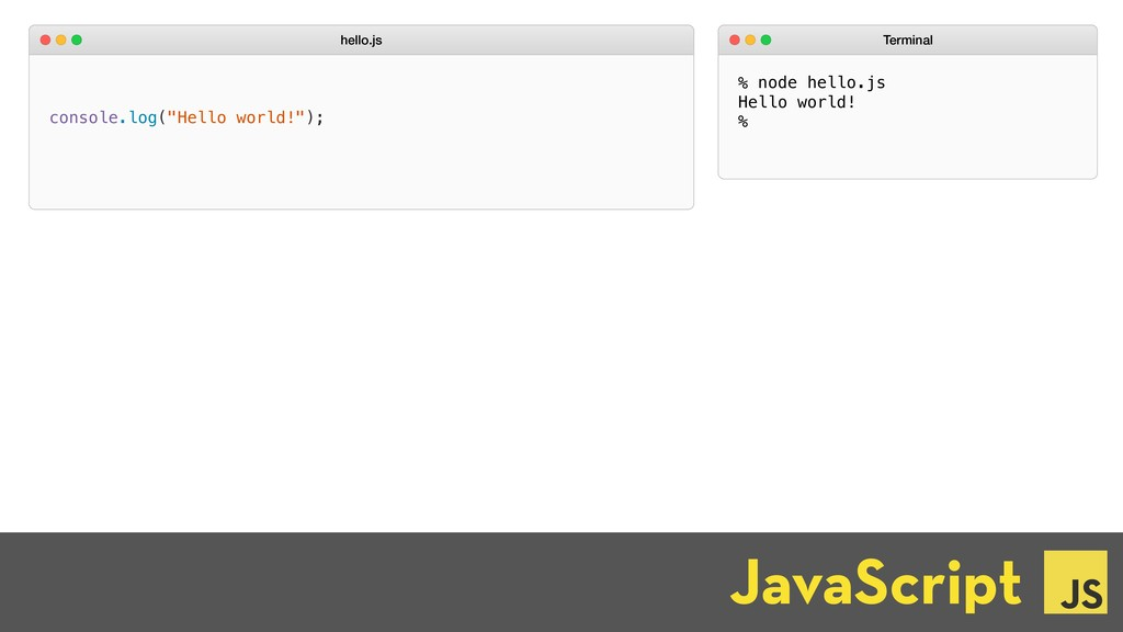 "JavaScript ☕ console.log(""Hello world!""); hello..."