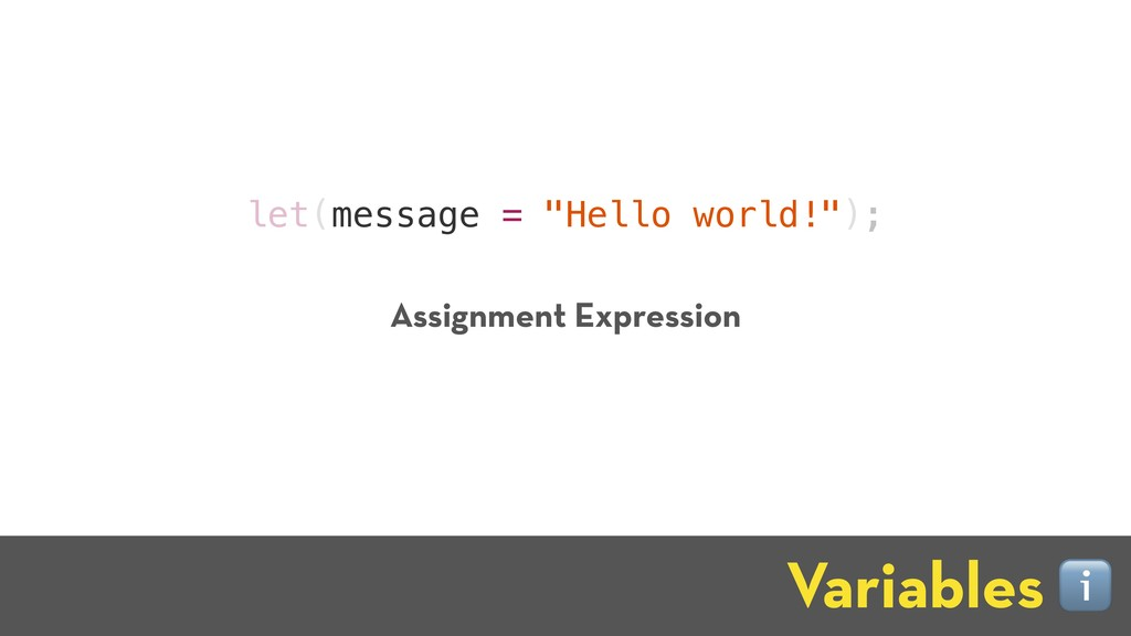 "let(message = ""Hello world!""); Variables ℹ Assi..."