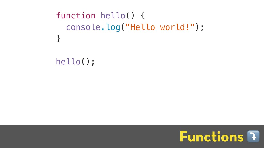 "function hello() { console.log(""Hello world!"");..."