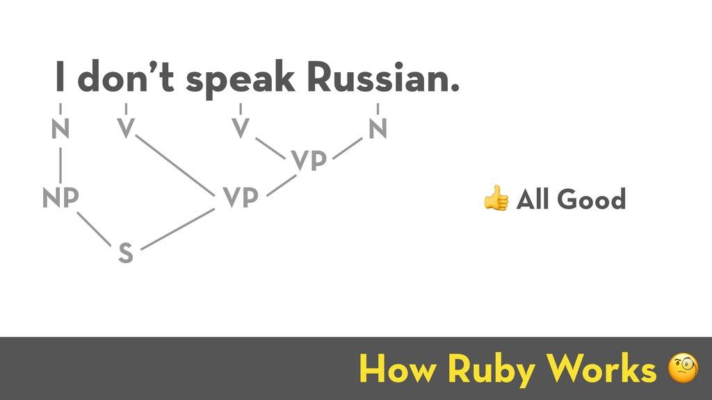 How Ruby Works J I don't speak Russian. NP N VP...
