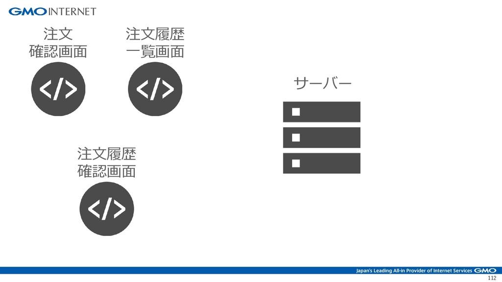 112 注文 確認画面 注文履歴 確認画面 注文履歴 一覧画面 サーバー