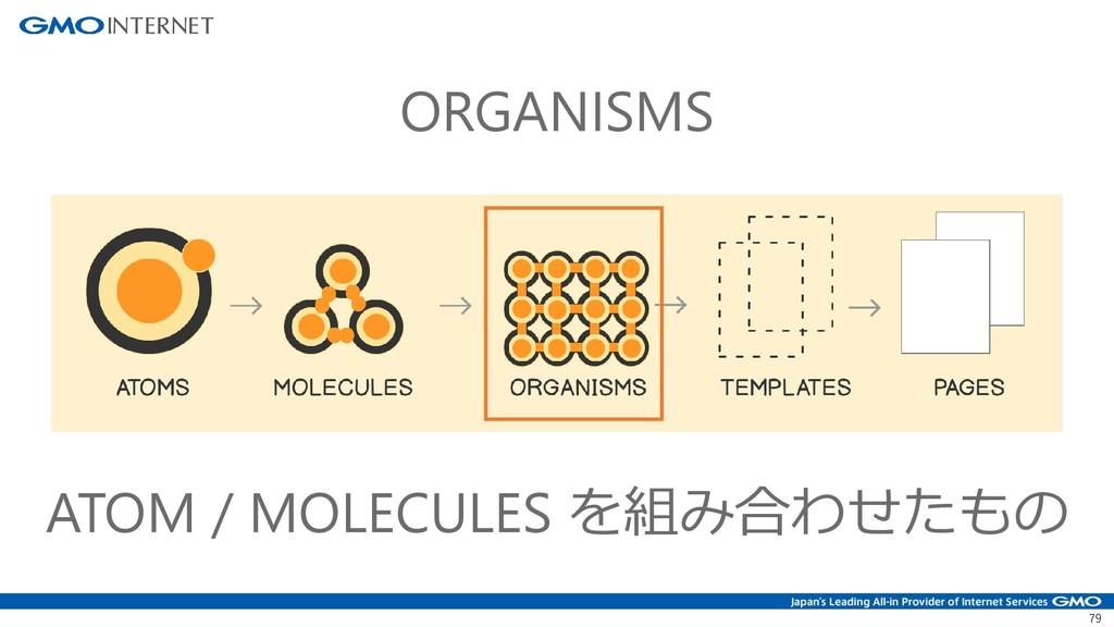 79 ORGANISMS ATOM / MOLECULES を組み合わせたもの