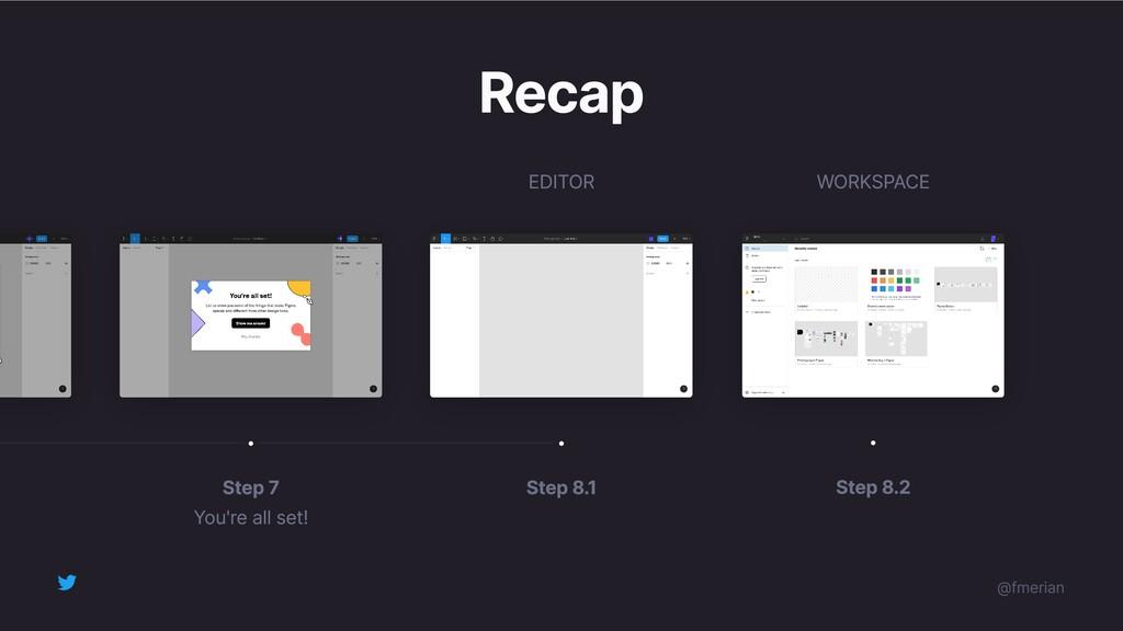 Recap Step 8.1 Step 7 You're all set! Step 8.2 ...