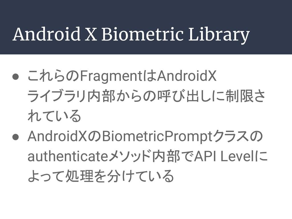 Android X Biometric Library ● これらのFragmentはAndr...