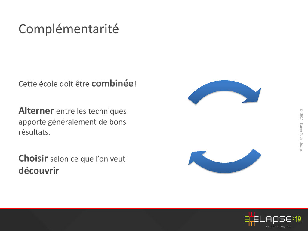 © 2014 Elapse Technologies Complémentarité Cett...