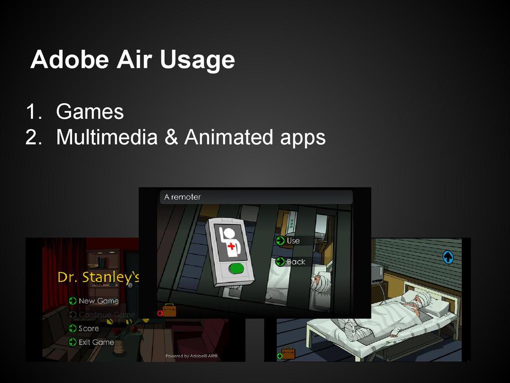 Adobe Air Usage 1. Games 2. Multimedia & Animat...