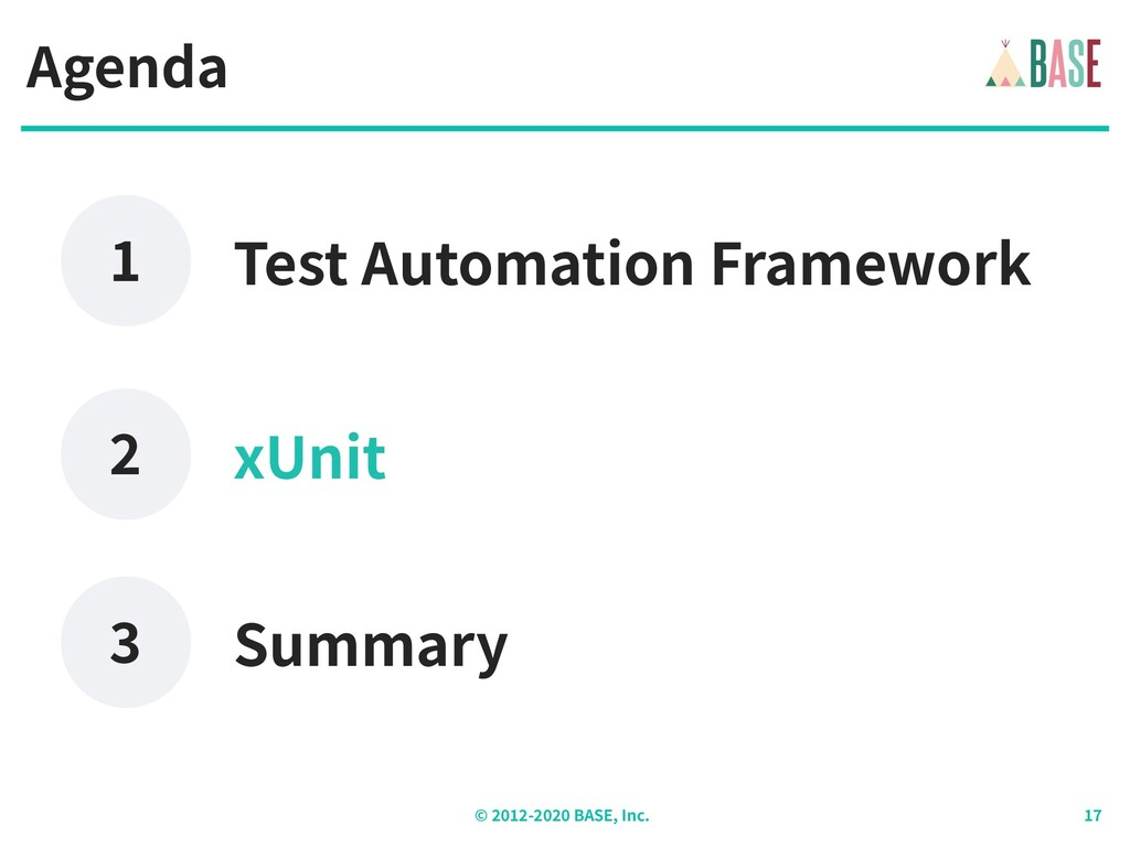 © - BASE, Inc. Agenda xUnit Test Automation Fra...