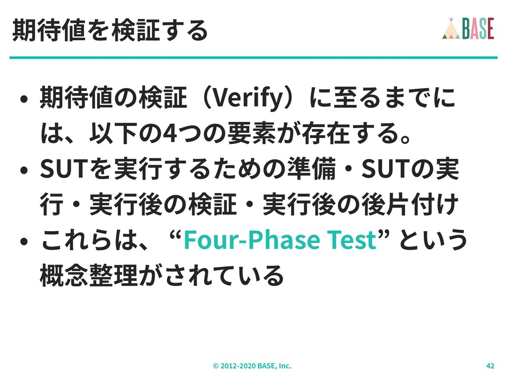 © - BASE, Inc. 期待値を検証する • 期待値の検証(Verify)に⾄るまでに ...