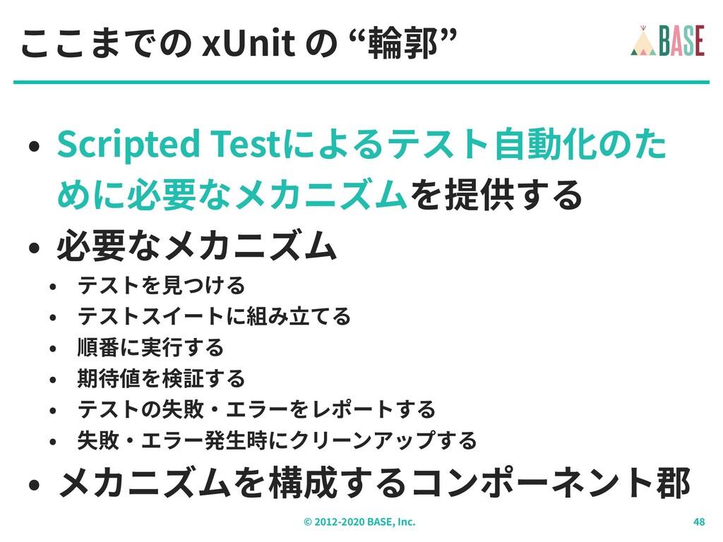 """© - BASE, Inc. ここまでの xUnit の """"輪郭"""" • Scripted Te..."""