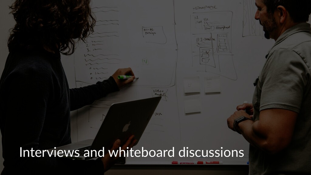Interviews and whiteboard discussions