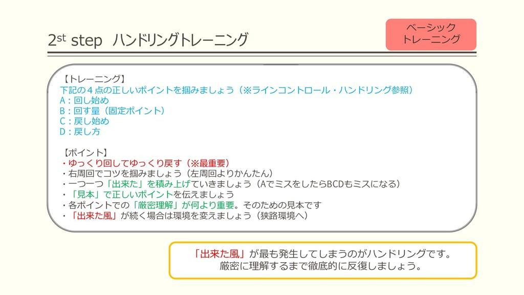 2st step ハンドリングトレーニング ベーシック トレーニング 【トレーニング】 下記の...