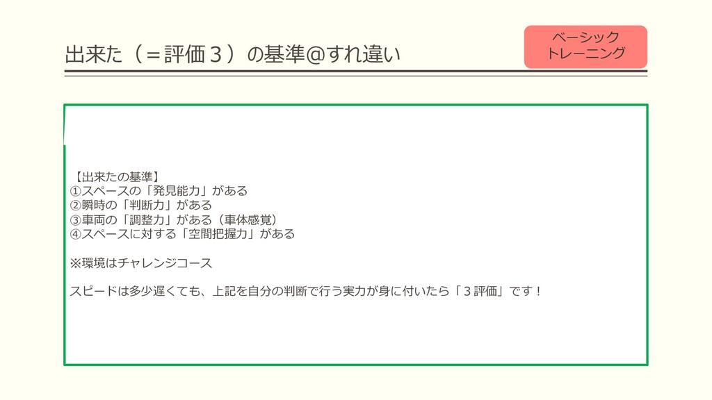 出来た(=評価3)の基準@すれ違い ベーシック トレーニング 【出来たの基準】 ①スペースの「...