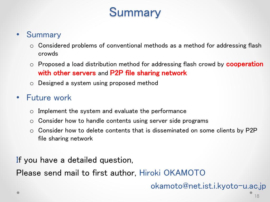 Summary • Summary o Considered problems of conv...