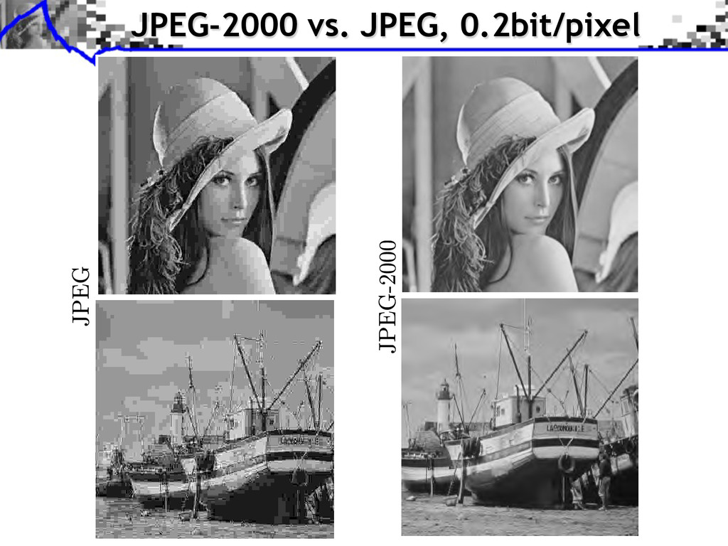 JPEG-2000 vs. JPEG, 0.2bit/pixel