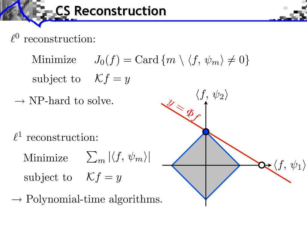 0 reconstruction: Minimize subject to Kf = y 1 ...