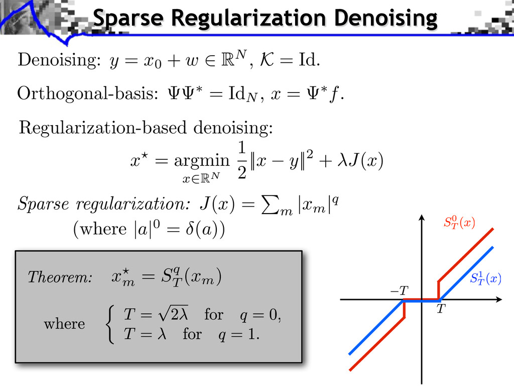 Orthogonal-basis: ⇤ = IdN , x = ⇤ f . Regulariz...