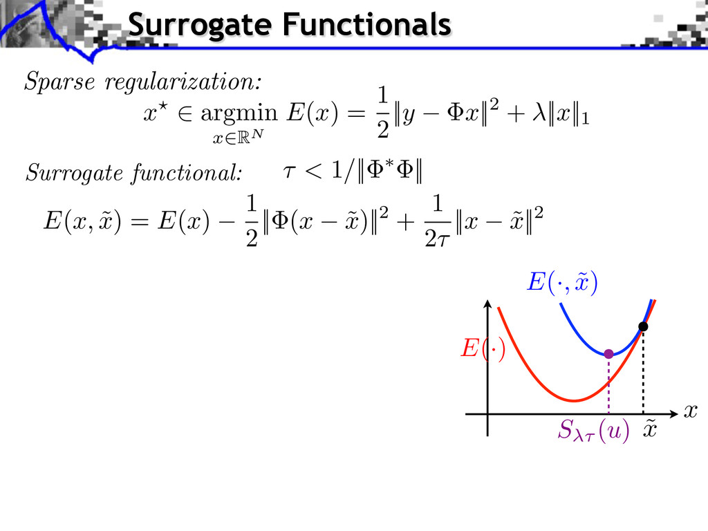 Sparse regularization: x? 2 argmin x 2RN E ( x ...