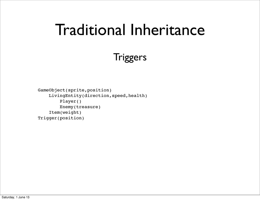 Traditional Inheritance GameObject(sprite,posit...