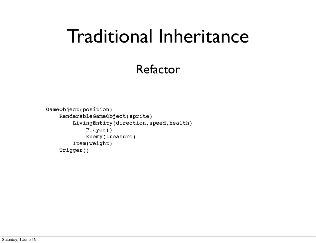 Traditional Inheritance GameObject(position) Re...