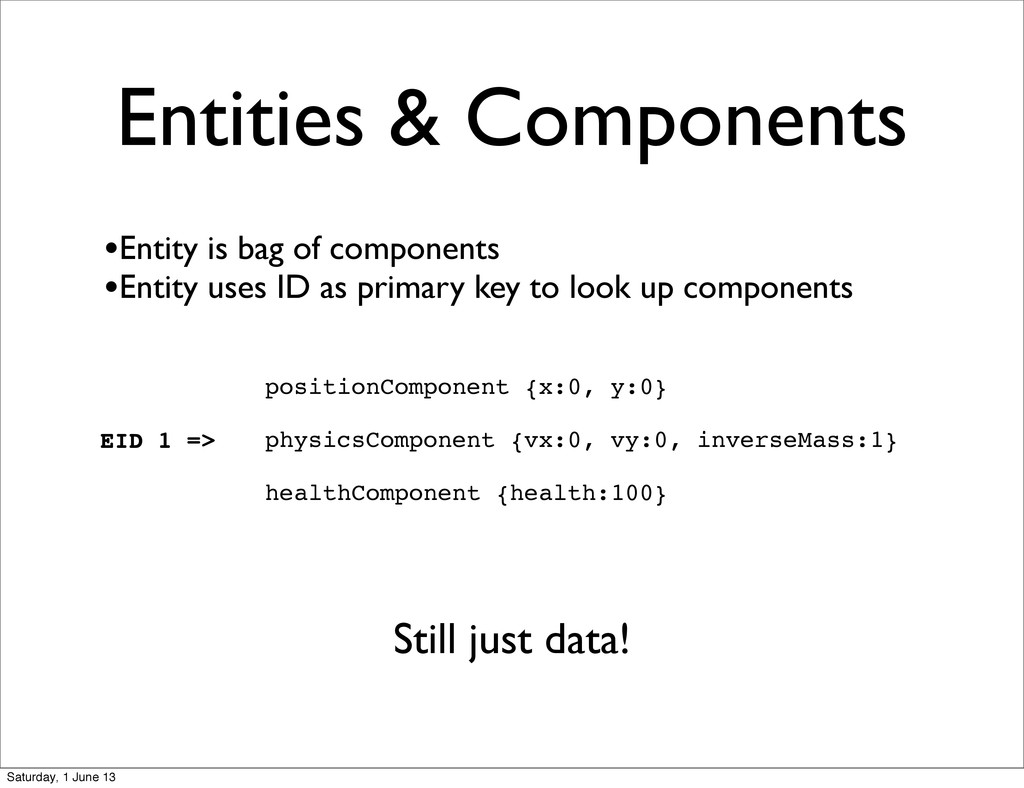 Entities & Components positionComponent {x:0, y...