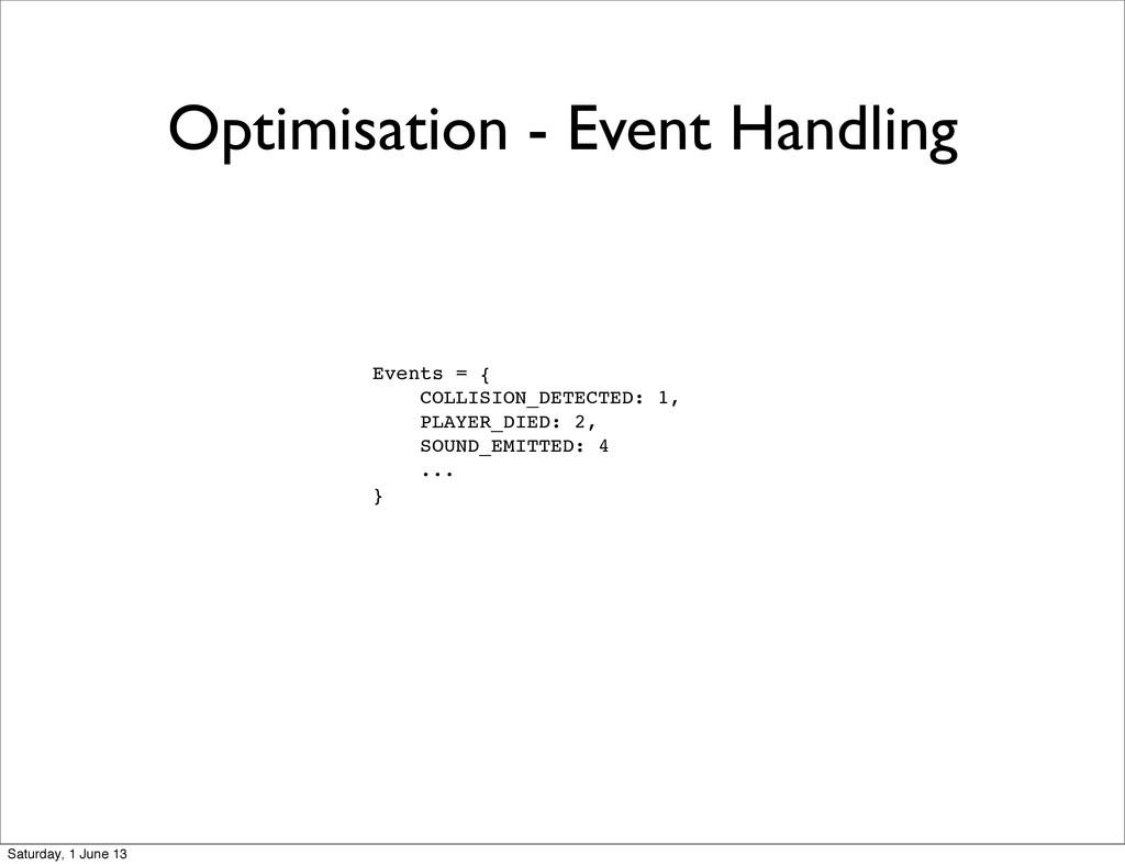Optimisation - Event Handling Events = { COLLIS...