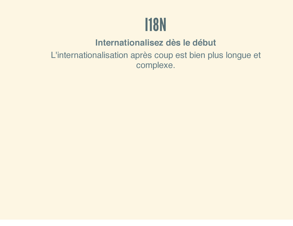 I18N Internationalisez dès le début L'internati...