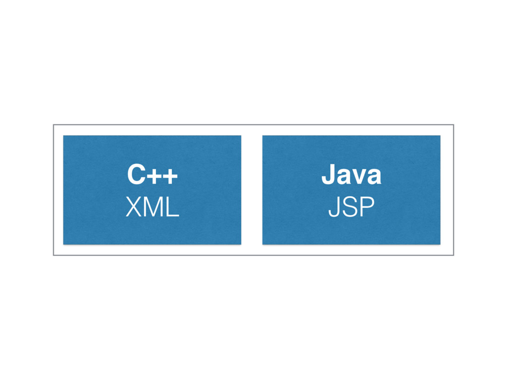 C++! XML Java! JSP