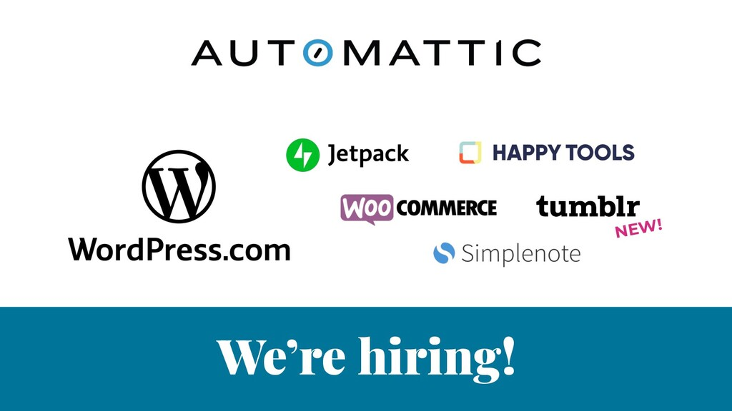 We're hiring! NEW!
