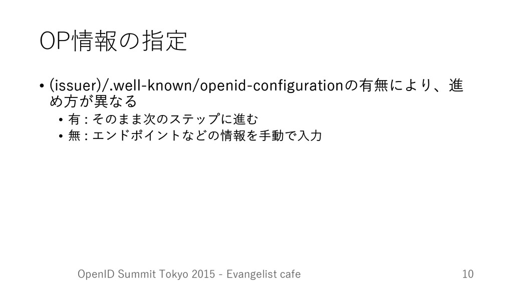 OP情報の指定 • (issuer)/.well-known/openid-configura...