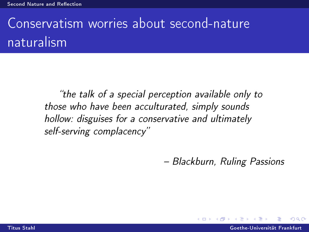 Second Nature and Reection Conservatism worrie...