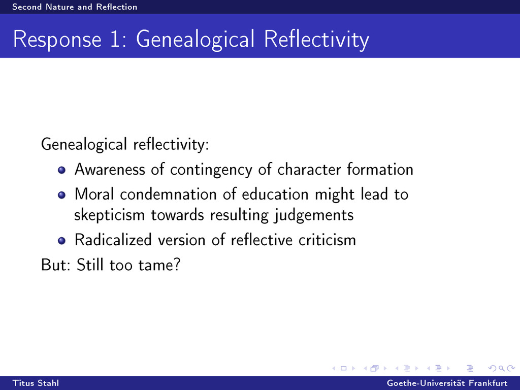 Second Nature and Reection Response 1: Genealo...