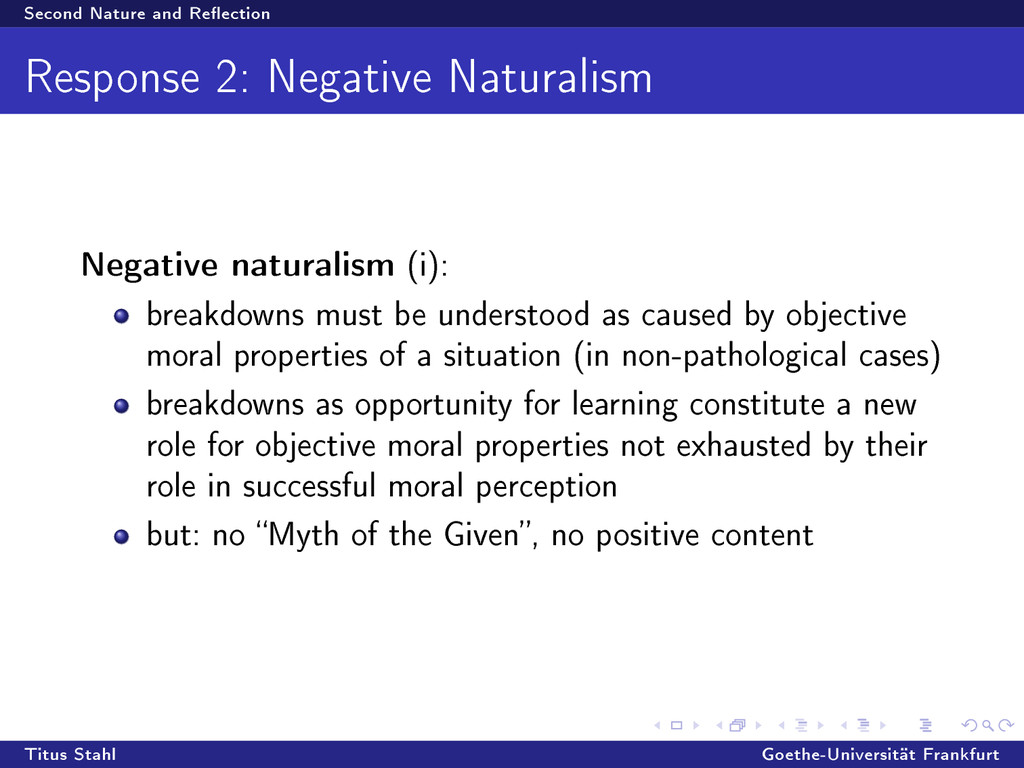 Second Nature and Reection Response 2: Negativ...