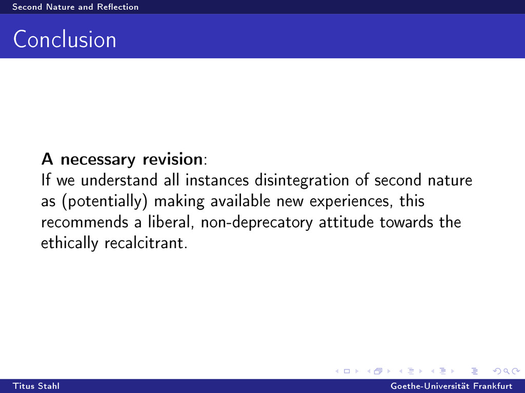Second Nature and Reection Conclusion A necess...