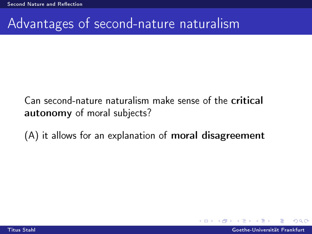 Second Nature and Reection Advantages of secon...