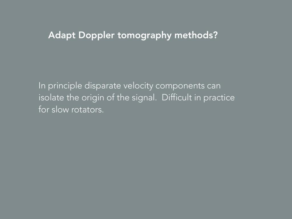Adapt Doppler tomography methods? In principle ...