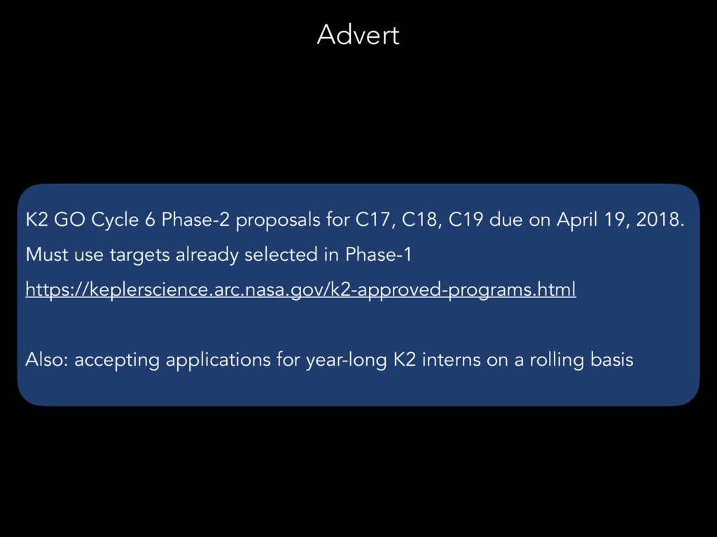 K2 GO Cycle 6 Phase-2 proposals for C17, C18, C...