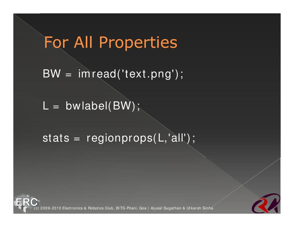 ž BW = imread('text.png'); ž L = bwlabel(BW); ž...