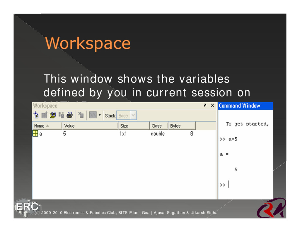 ž This window shows the variables defined by yo...