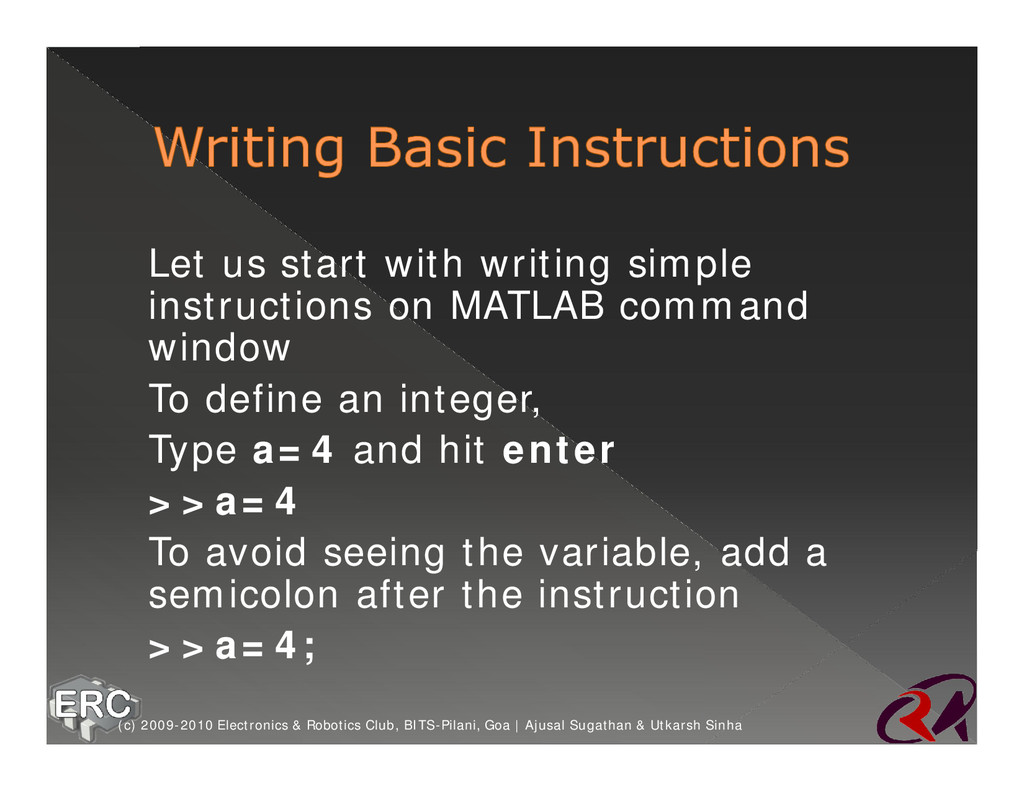 ž Let us start with writing simple instructions...