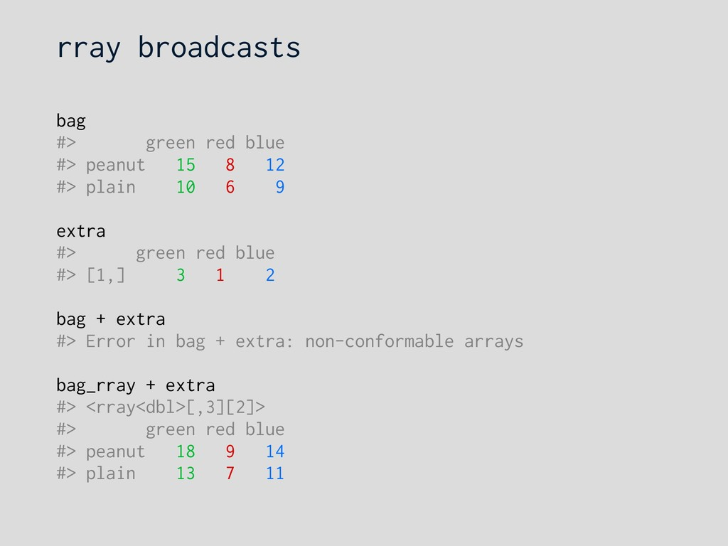 rray broadcasts bag #> green red blue #> peanut...