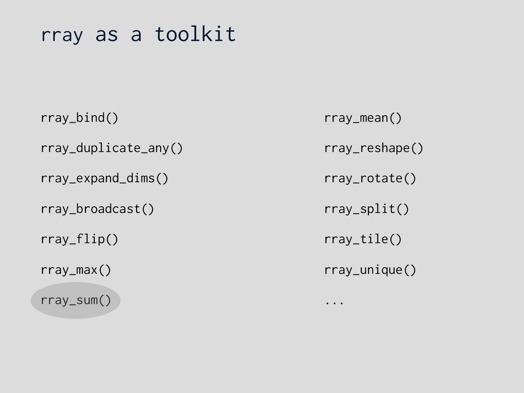 rray as a toolkit rray_bind() rray_duplicate_an...