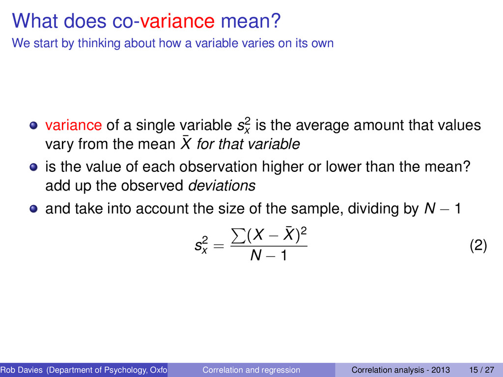 What does co-variance mean? We start by thinkin...