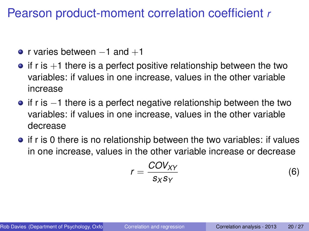 Pearson product-moment correlation coefficient r...