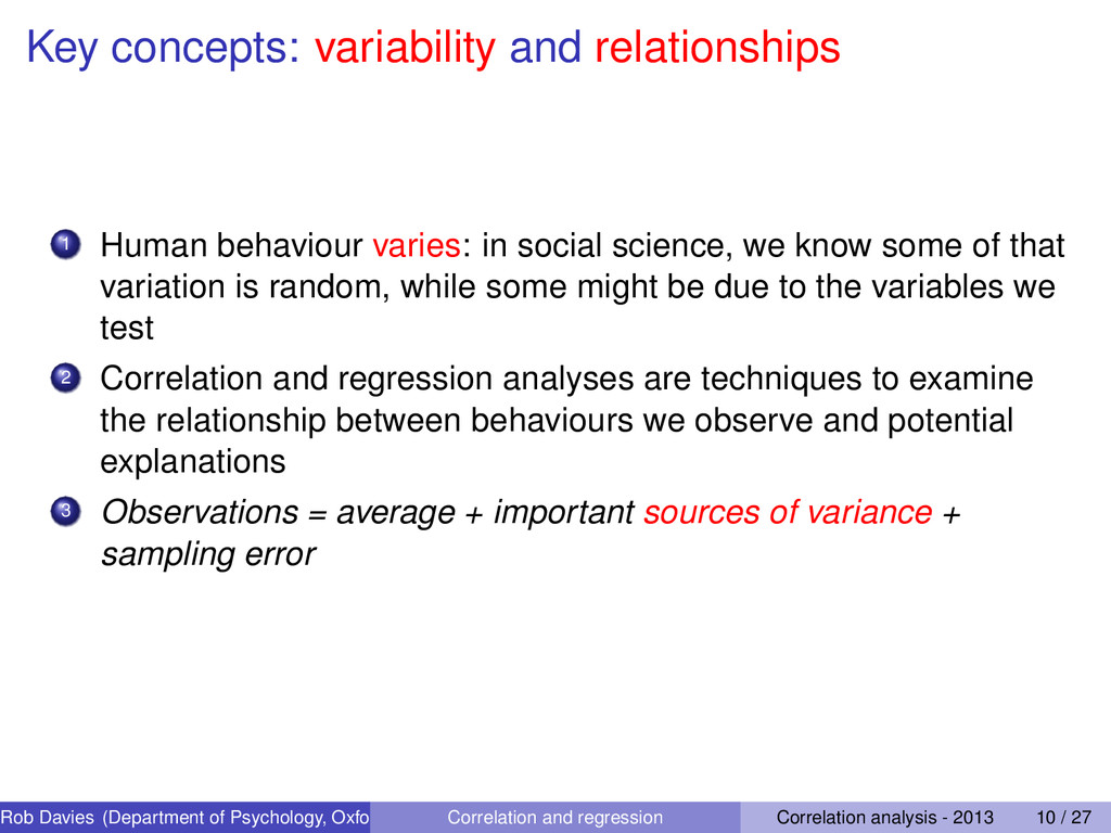 Key concepts: variability and relationships 1 H...