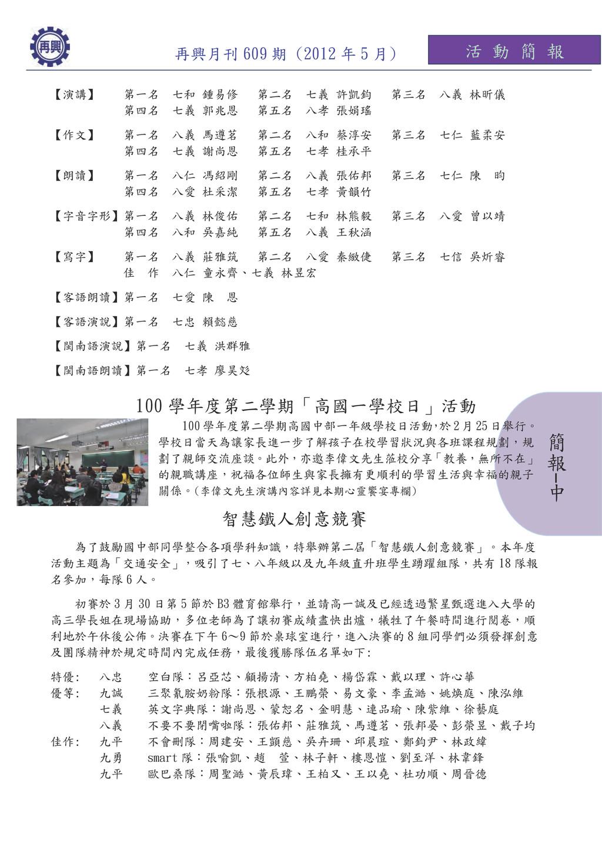 簡 報 中 活 動 簡 報 再興月刊 609 期 (2012 年 5 月) 【演講】 第一名 ...