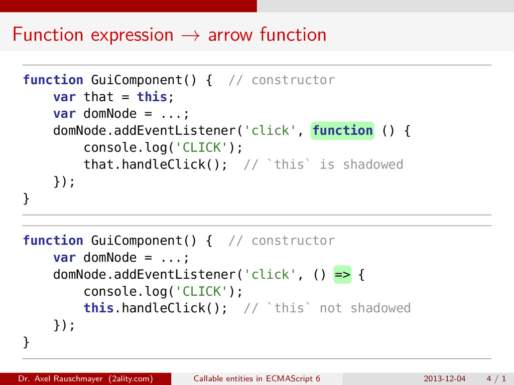 Function expression → arrow function function G...
