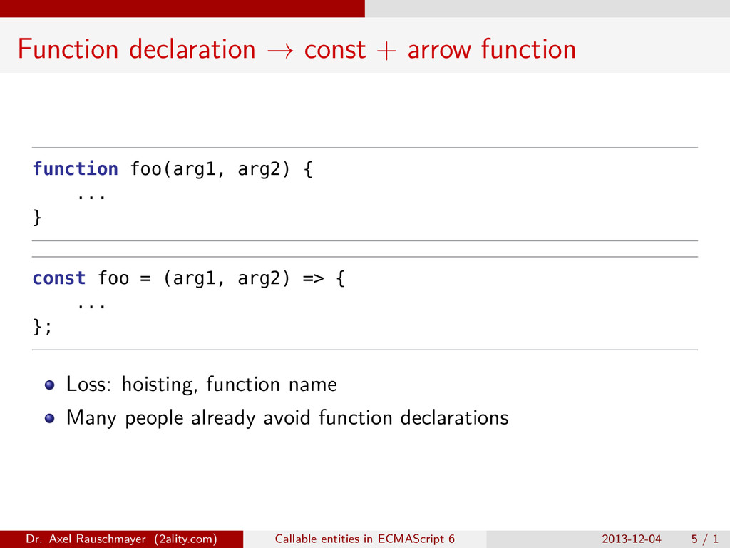 Function declaration → const + arrow function f...