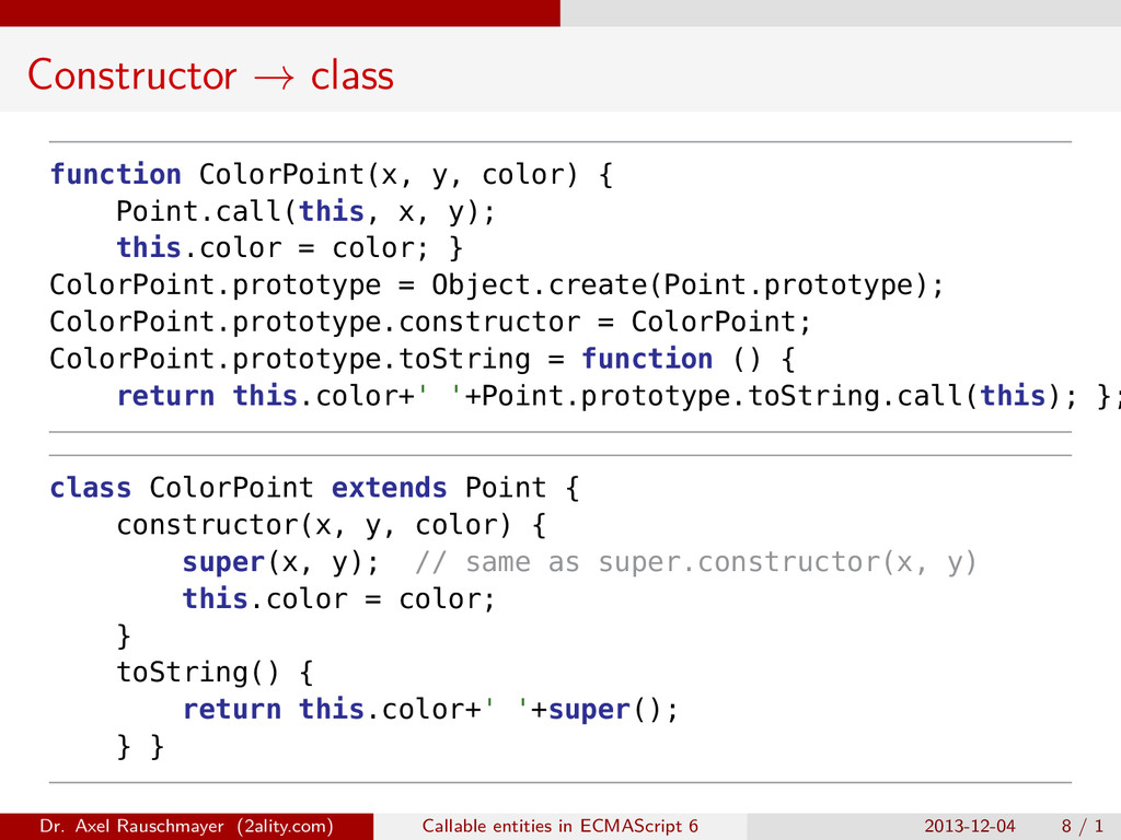 Constructor → class function ColorPoint(x, y, c...