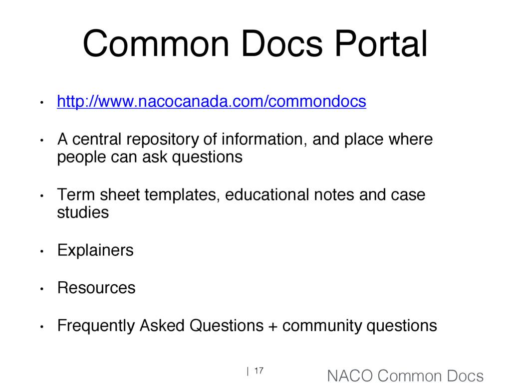 Common Docs Portal • http://www.nacocanada.com/...